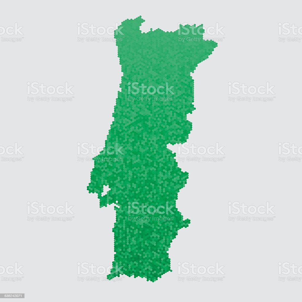 Portugal Map Green Hexagon Pattern vector art illustration