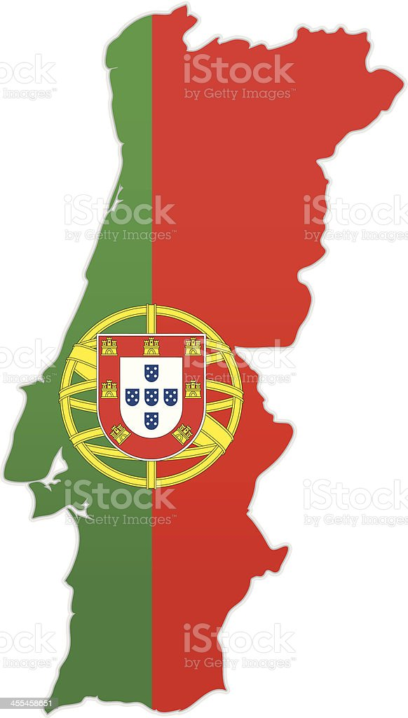 Portugal map with flag royalty-free stock vector art