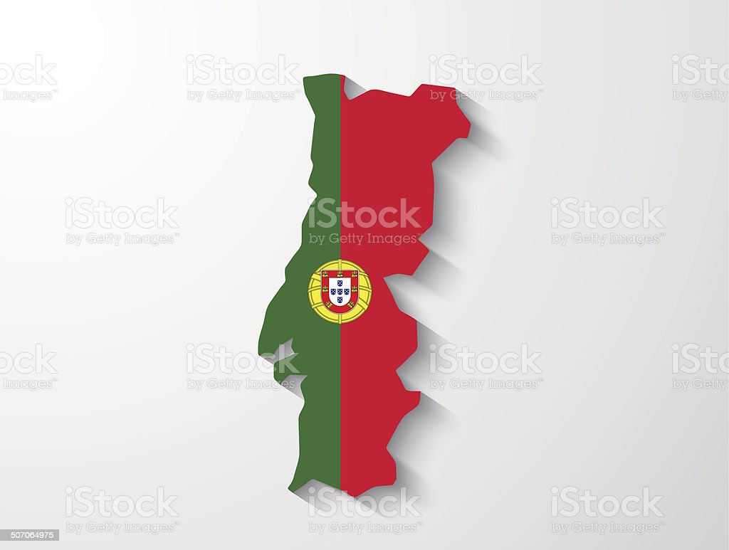 Portugal map with shadow effect presentation royalty-free stock vector art