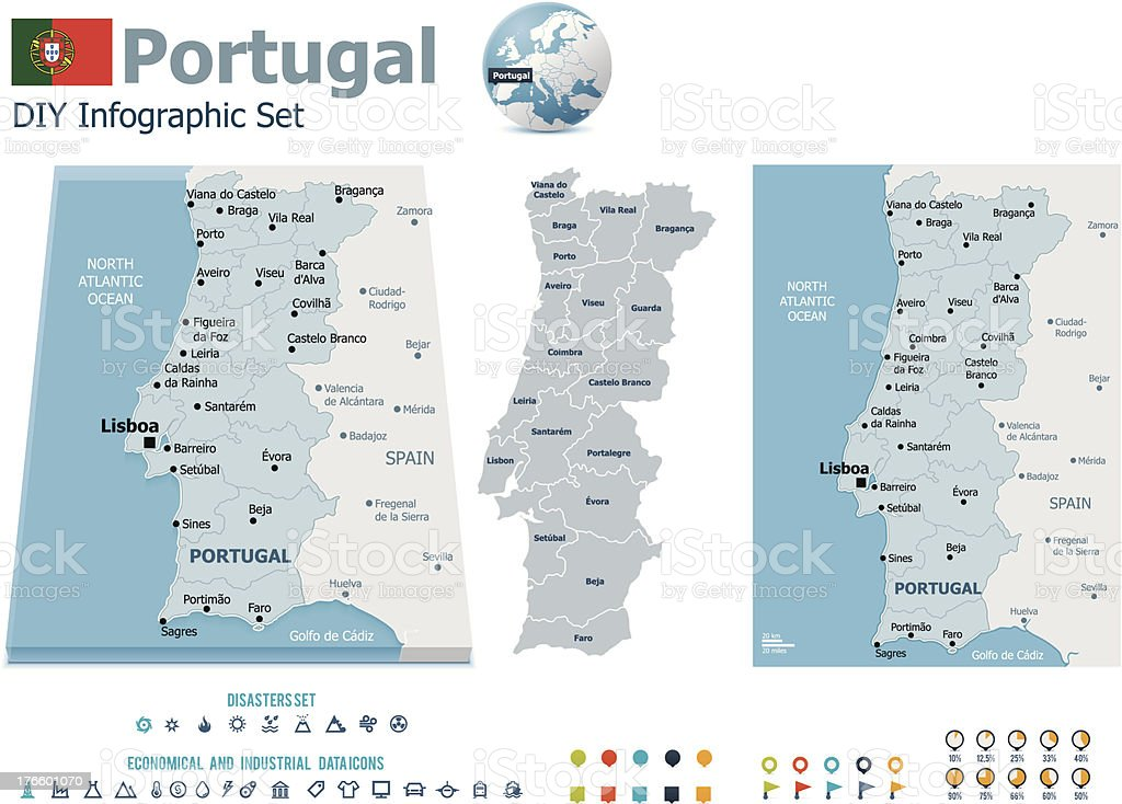 Portugal maps with markers royalty-free stock vector art