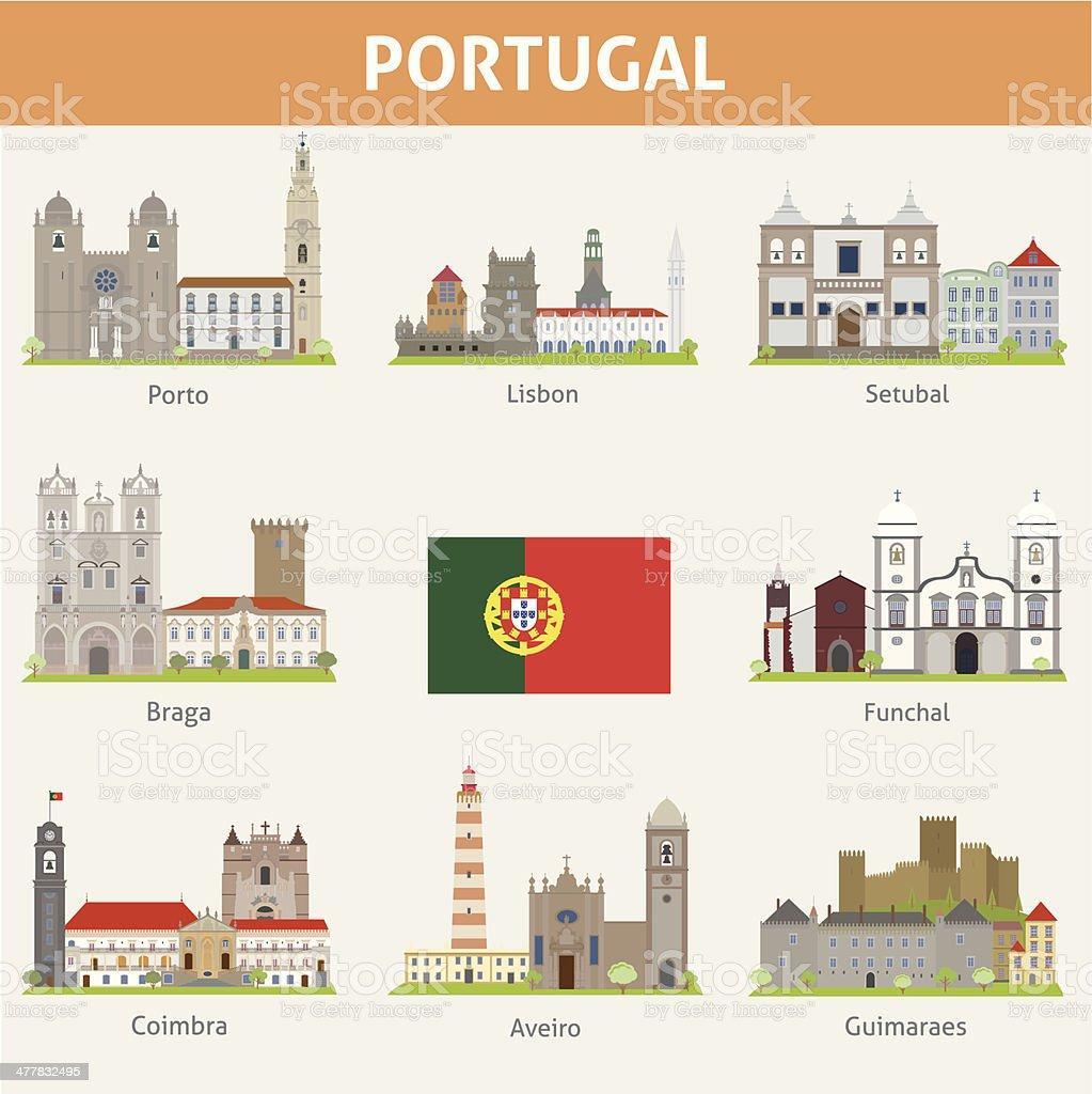 Portugal. Symbols of cities vector art illustration