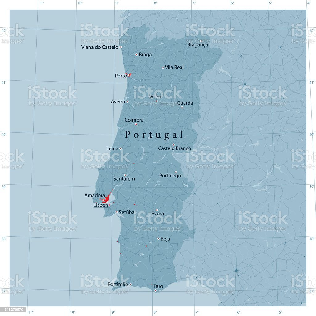 Portugal Vector Road Map vector art illustration