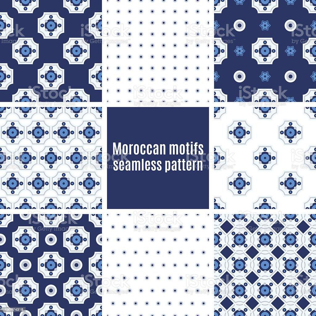 Portuguese Azulejos set of patterns vector art illustration
