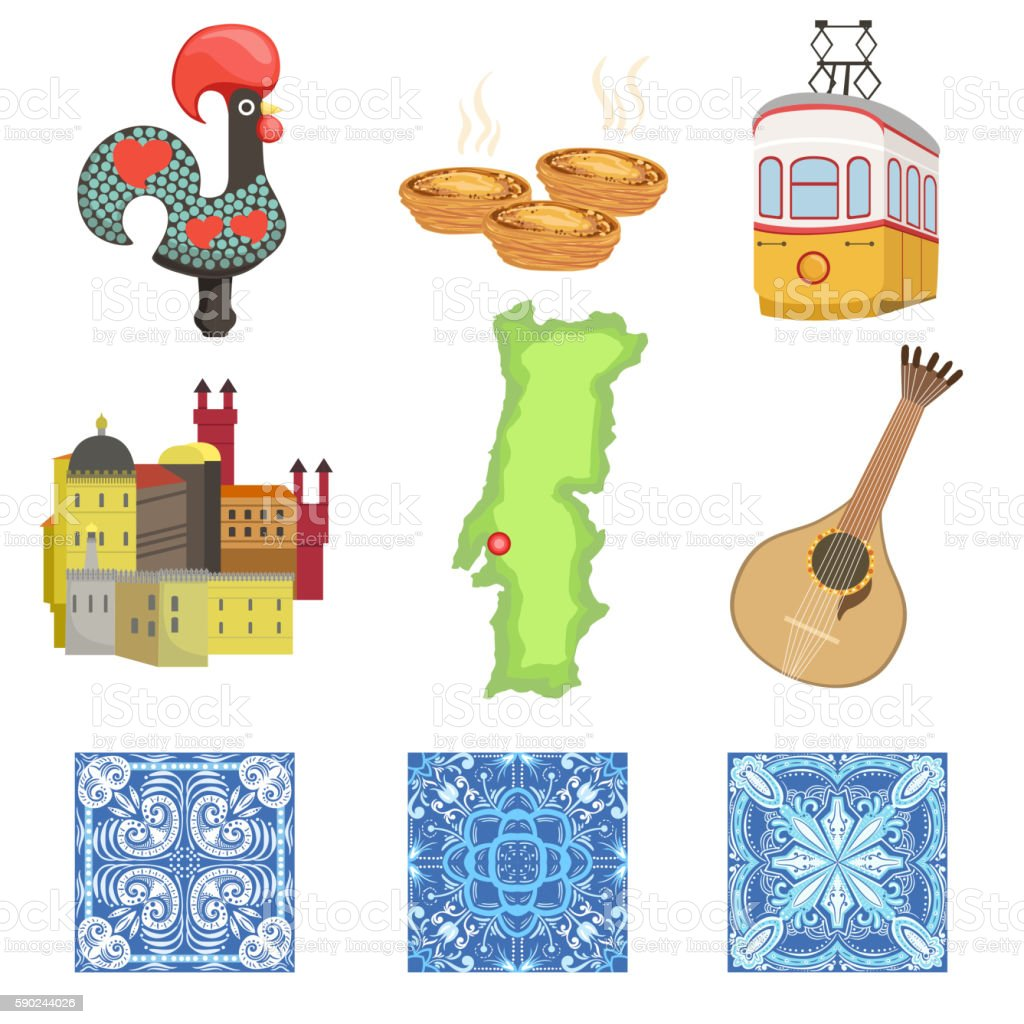 Portuguese National Symbols Set Of Objects vector art illustration