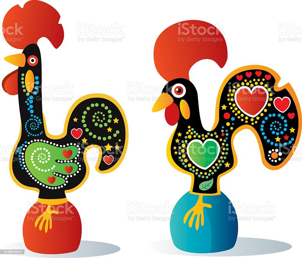 Portuguese Rooster vector art illustration
