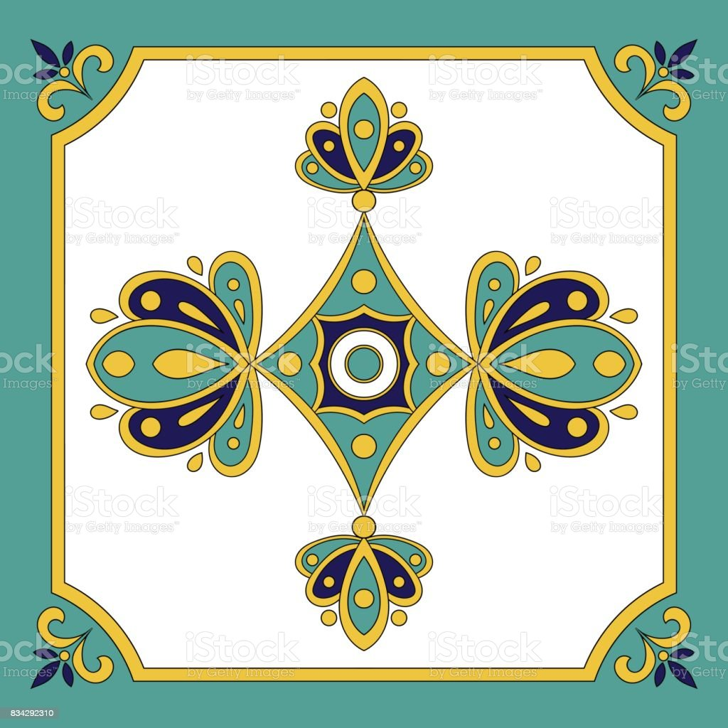 Portuguese tiles azulejos pattern vector seamless vector art illustration