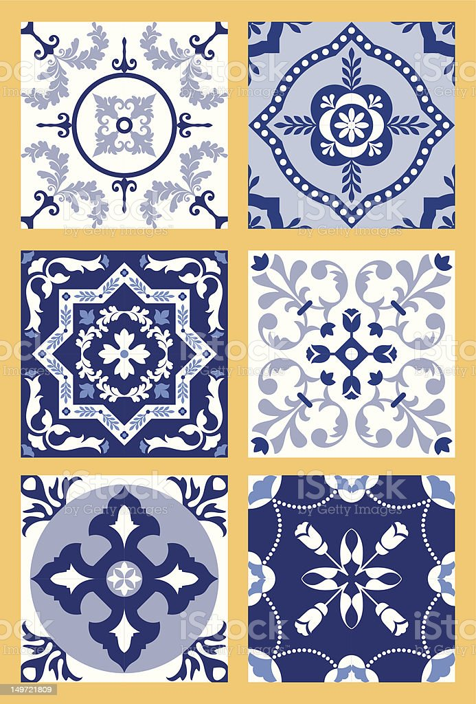 Portuguese Tiles Patterns royalty-free stock vector art