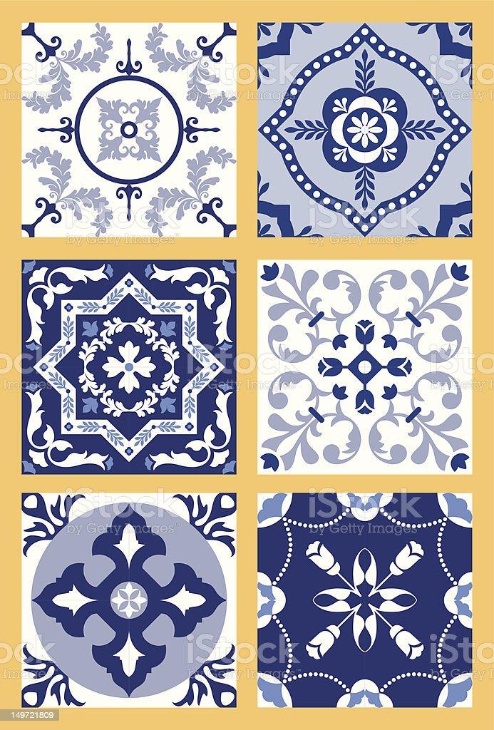 Portuguese Tiles Patterns vector art illustration
