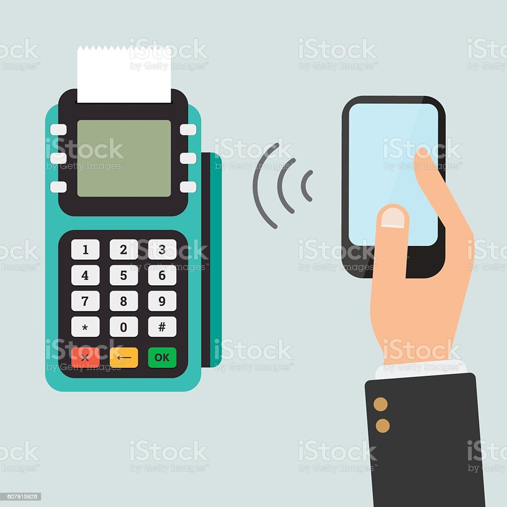 Pos terminal confirms the payment by smartphone. vector art illustration