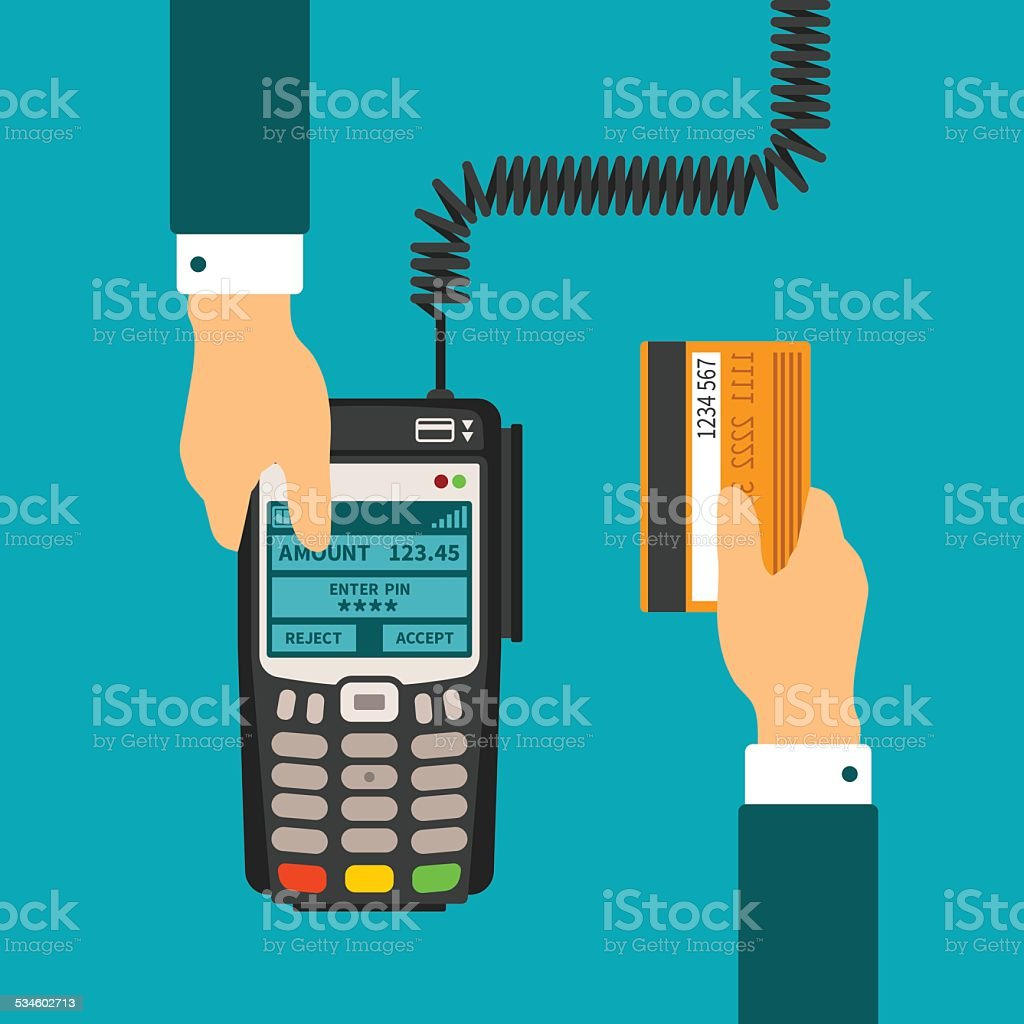 Pos terminal usage vector concept in flat style vector art illustration