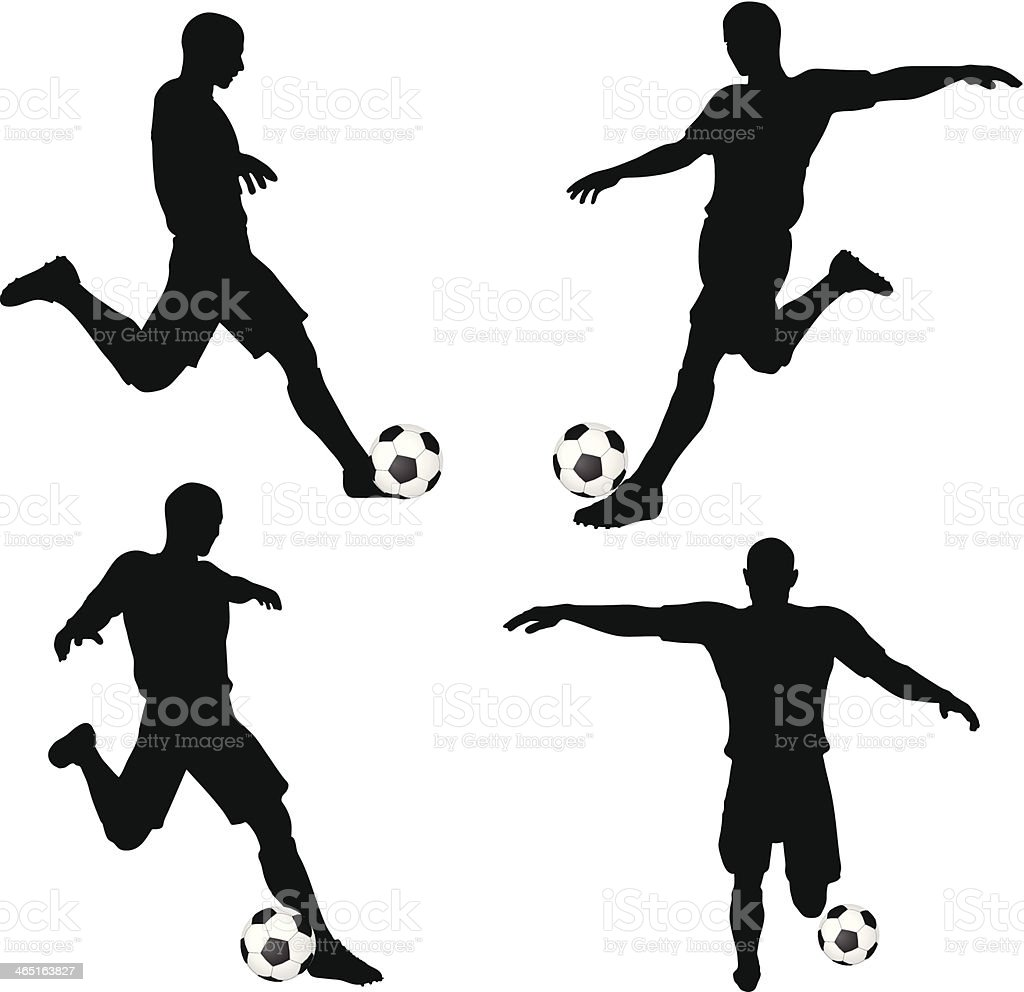 poses of soccer players silhouettes in run and strike position vector art illustration