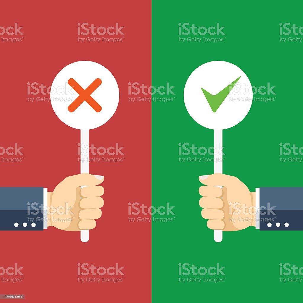 Positive and negative feedback concept. vector art illustration