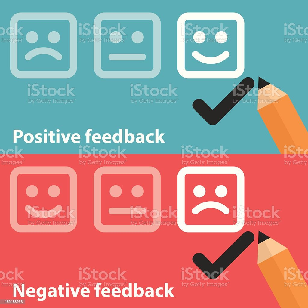 Positive and negative feedback vector art illustration