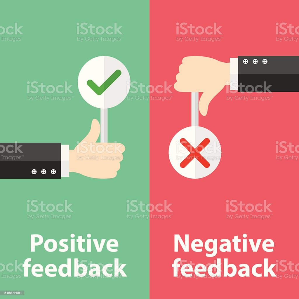 Positive and negative feedback vector art illustration