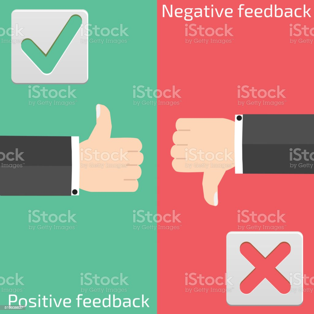 Positive feedback and negative feedback vector art illustration