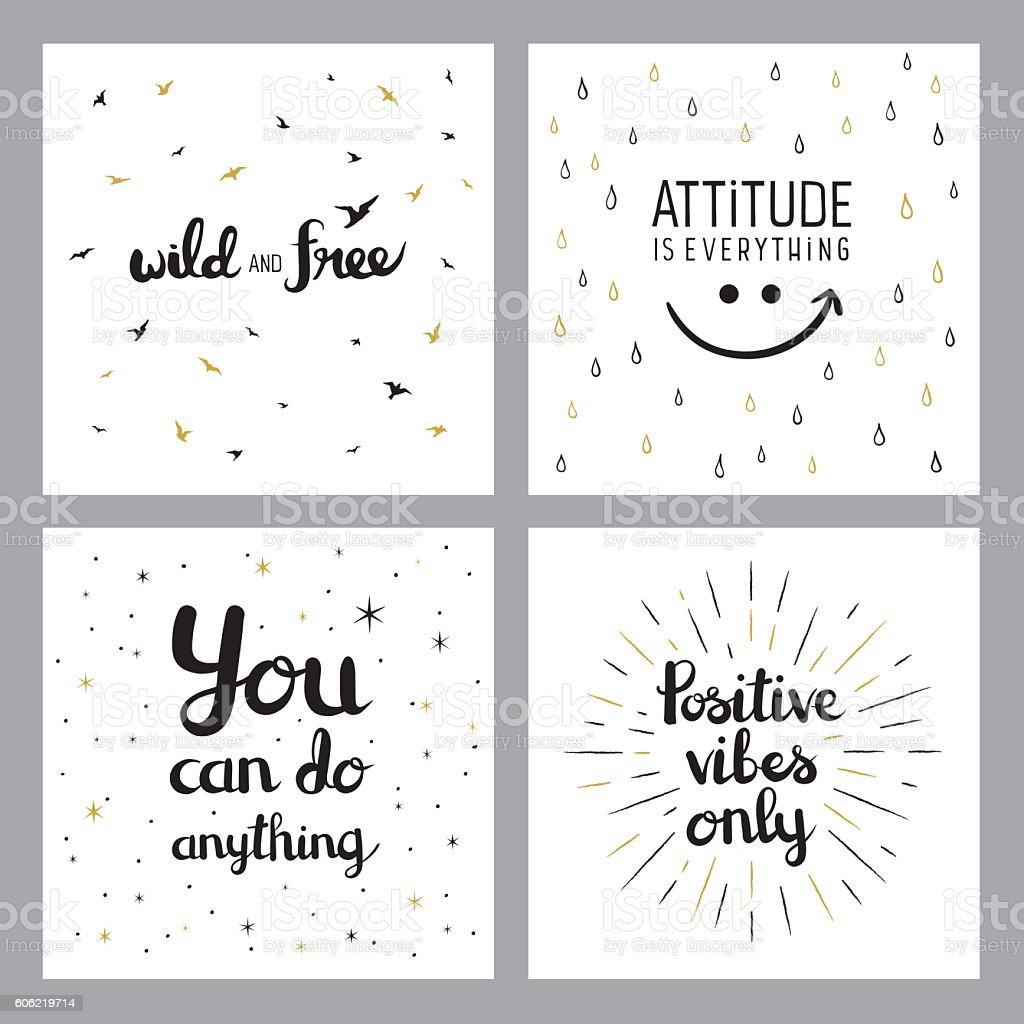 Positive inspirational quotes vector art illustration