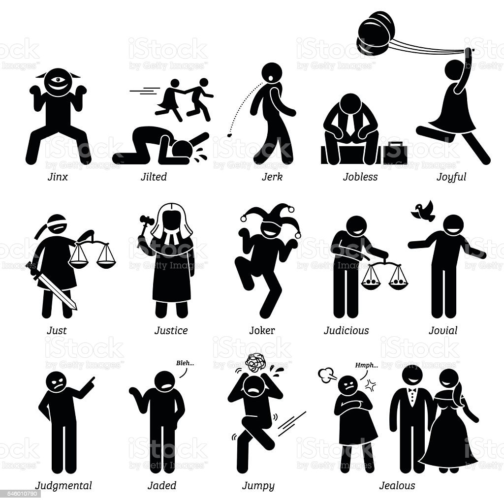 Positive Negative Neutral Personalities Character Traits. Stick Figures Man Icons. vector art illustration