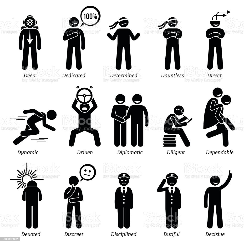 Positive Personalities Character Traits. Stick Figures Man Icons. vector art illustration