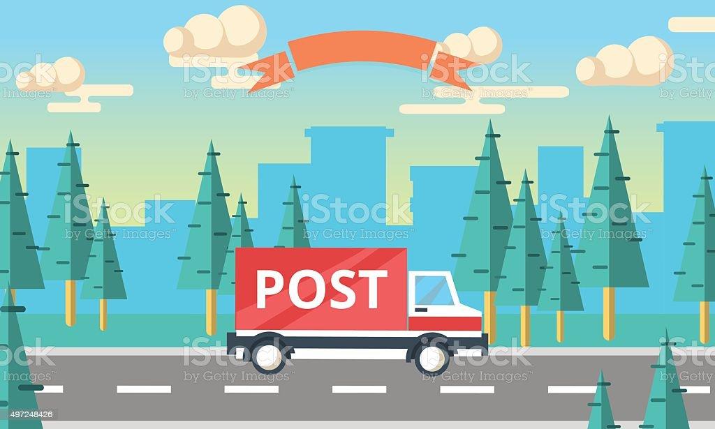 Post delivery vector truck. Delivery service van. vector art illustration