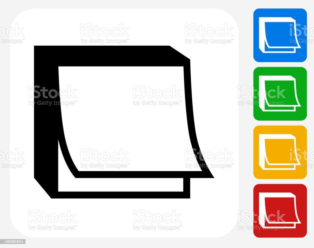 Post It Note Icon Flat Graphic Design vector art illustration