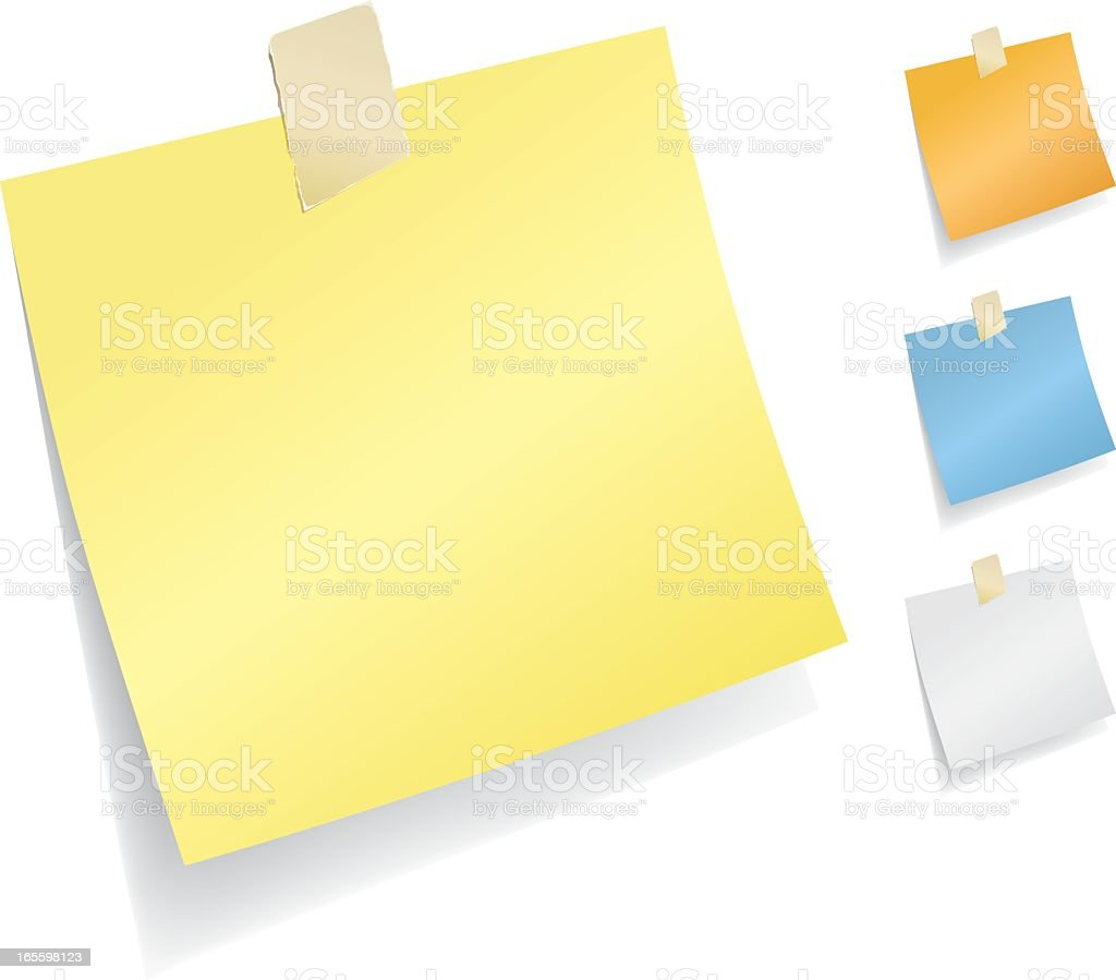Post it notes in four different colors royalty-free stock vector art