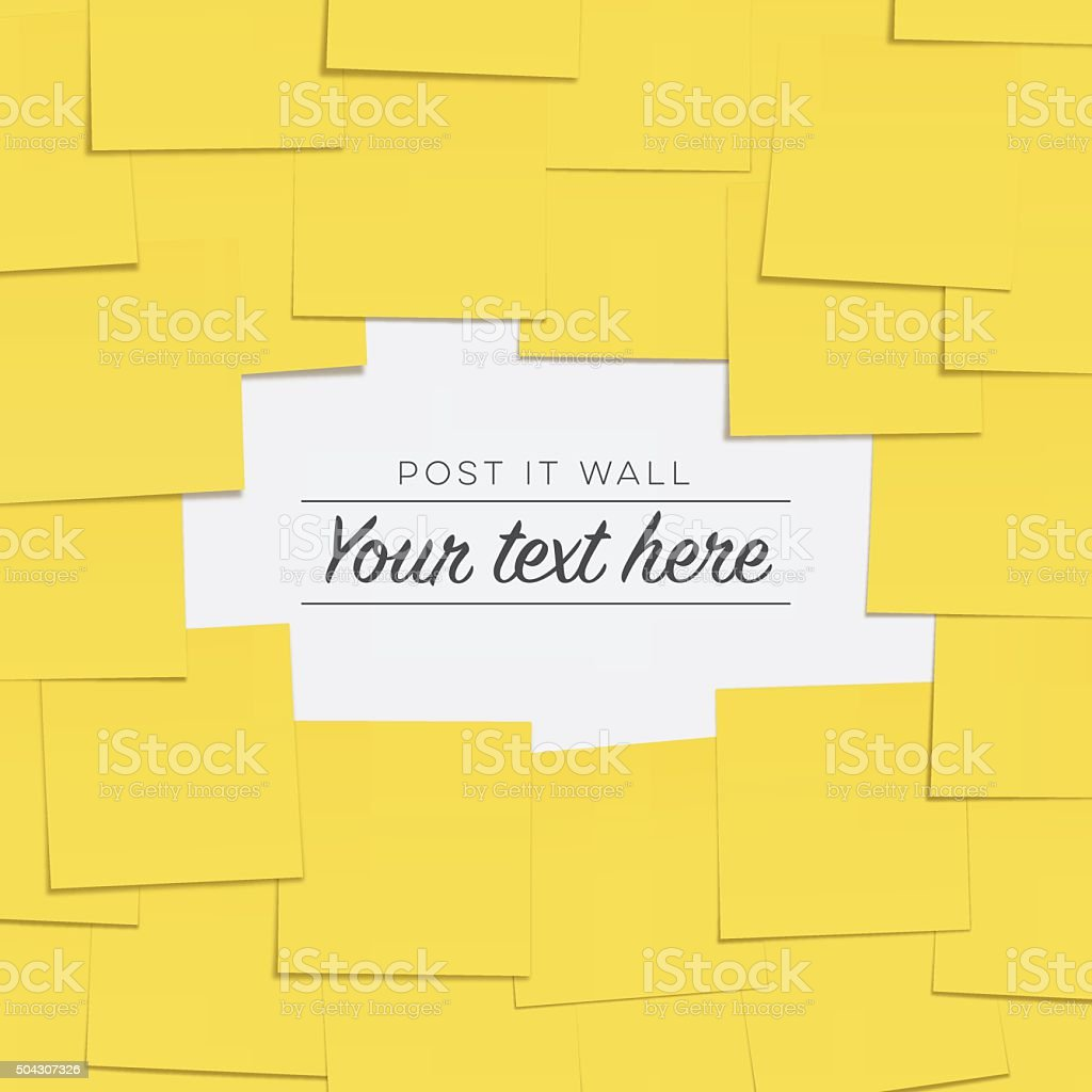 Post it notes on the wall with copyspace vector art illustration