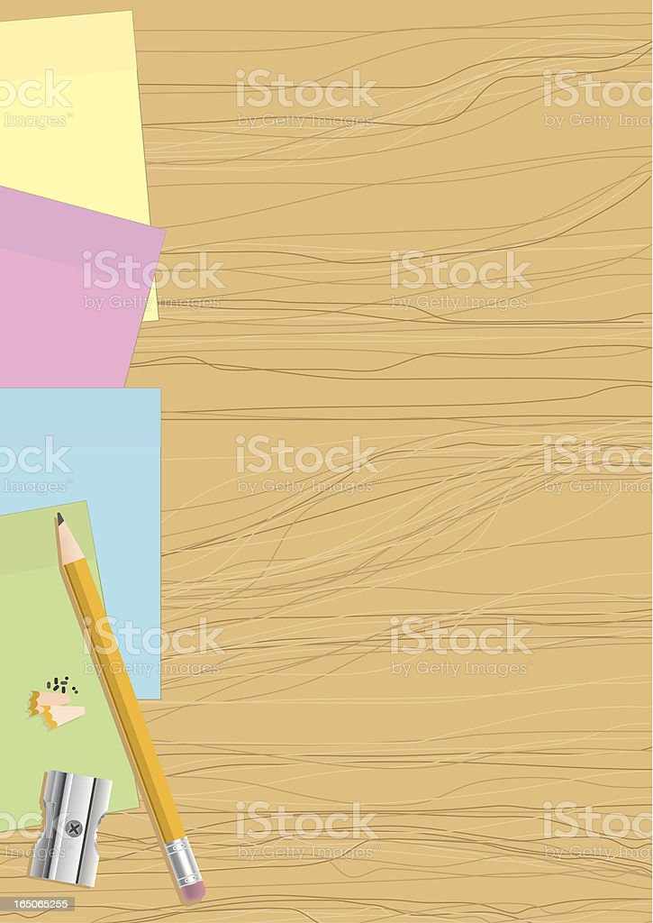 Post it notes on wood plus pencil and sharpener royalty-free stock vector art