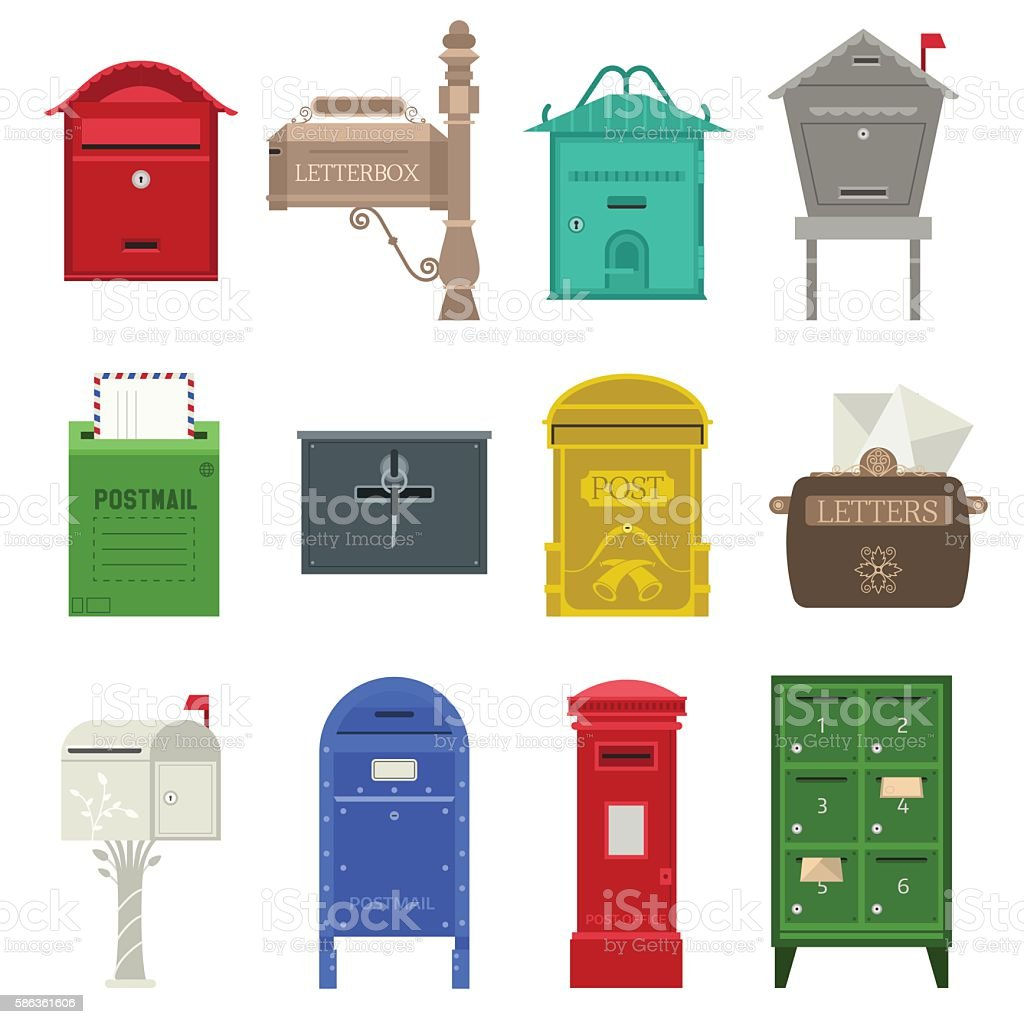 Post mail box vector set. vector art illustration