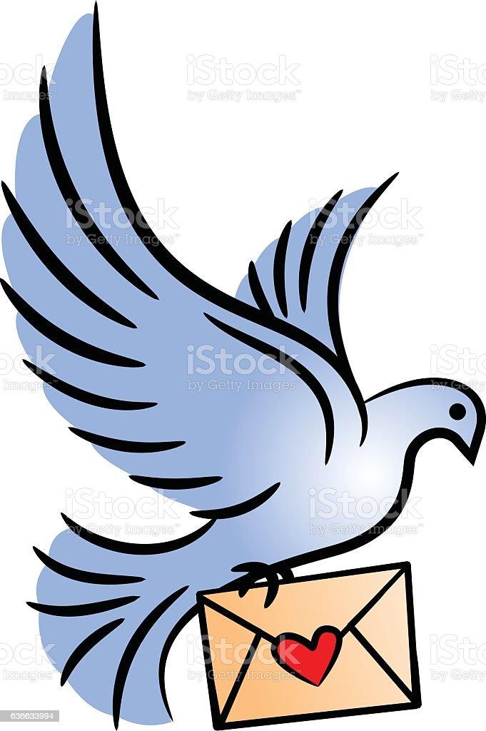 Post pigeon. vector art illustration