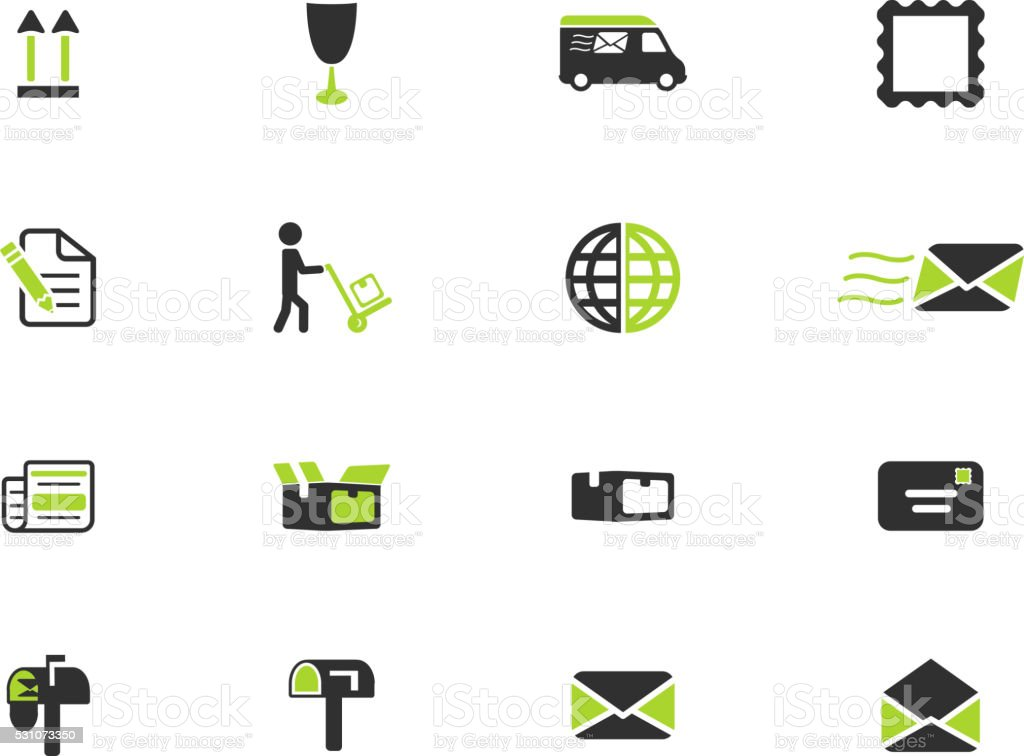 Post service simply icons vector art illustration