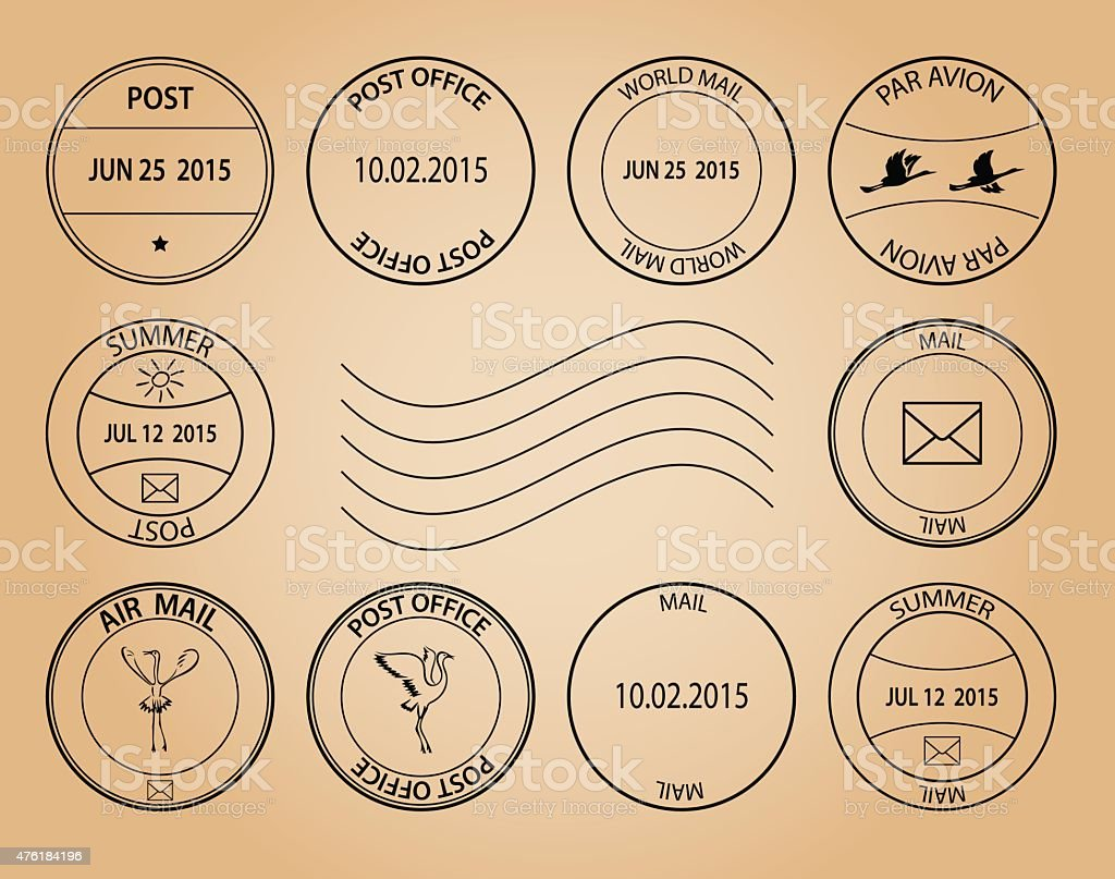 post stamps on aged background - vector vector art illustration