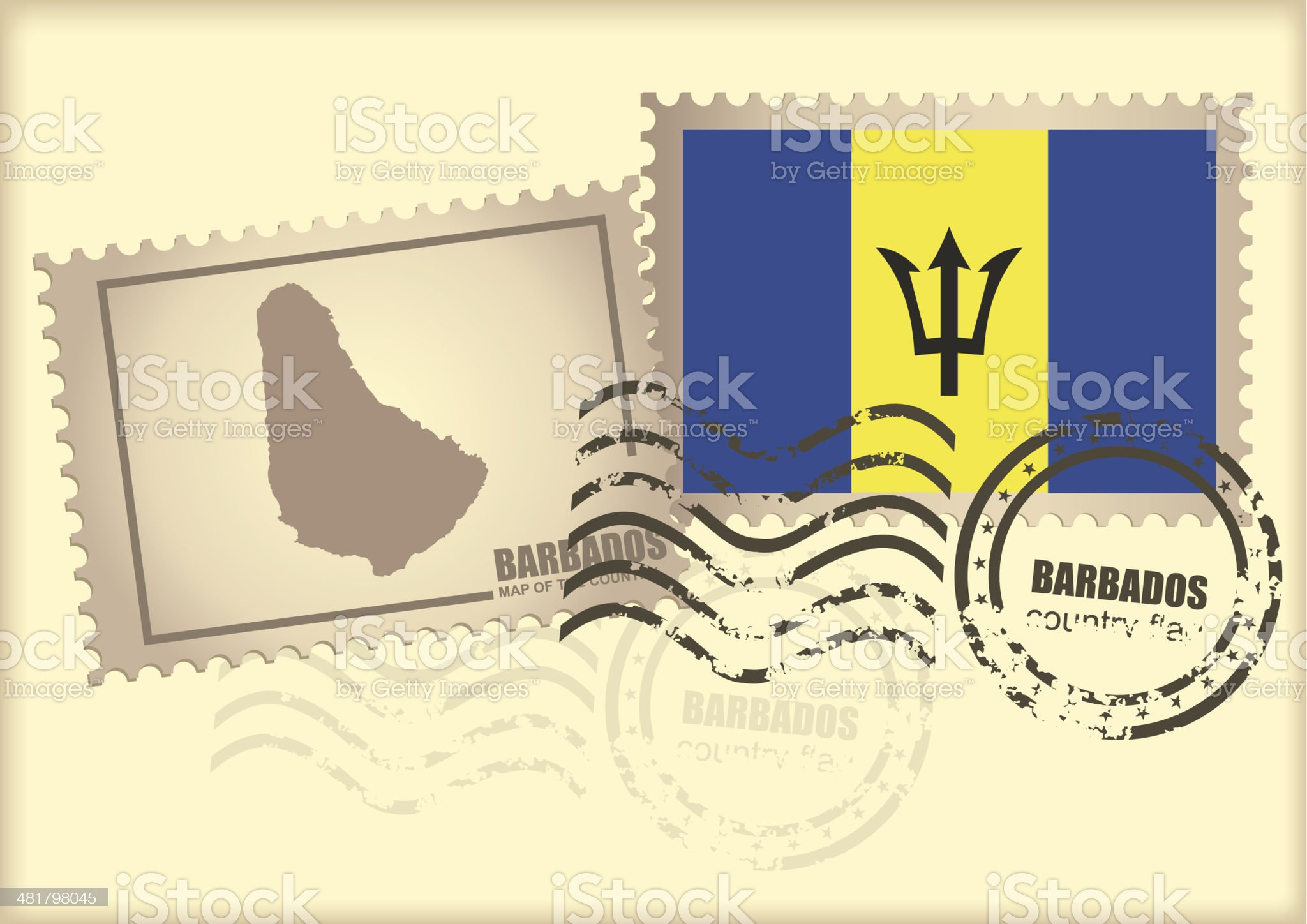 postage stamp Barbados royalty-free stock vector art