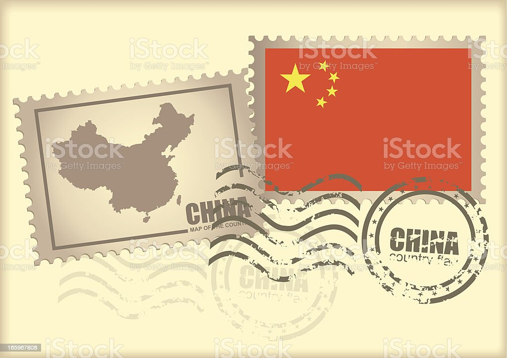 postage stamp China royalty-free stock vector art