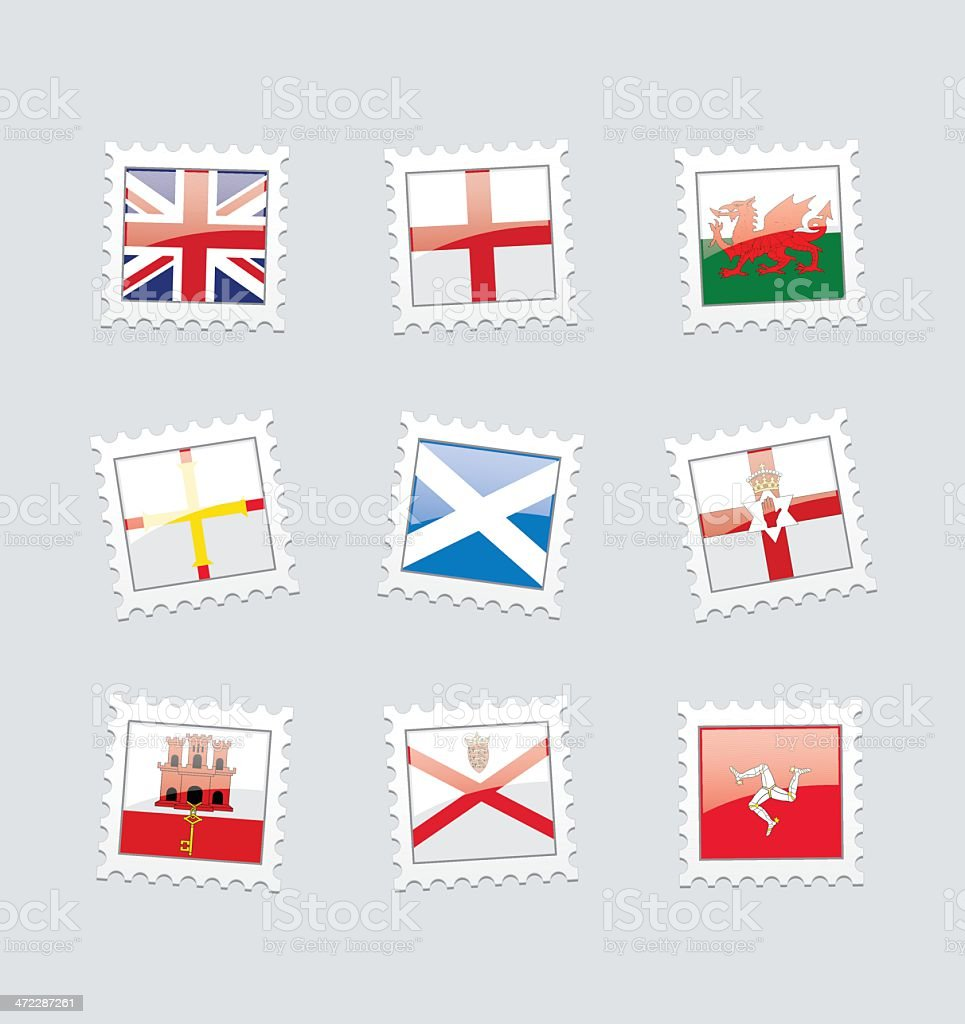 Postage Stamp Flags: British Territory in Europe vector art illustration