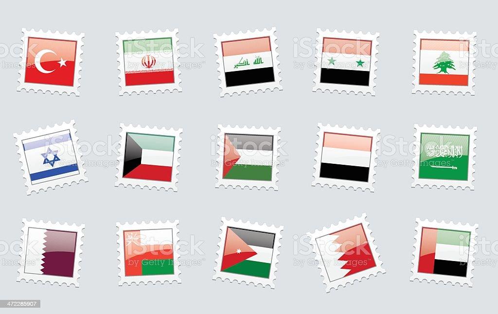 Postage Stamp Flags: Middle East vector art illustration
