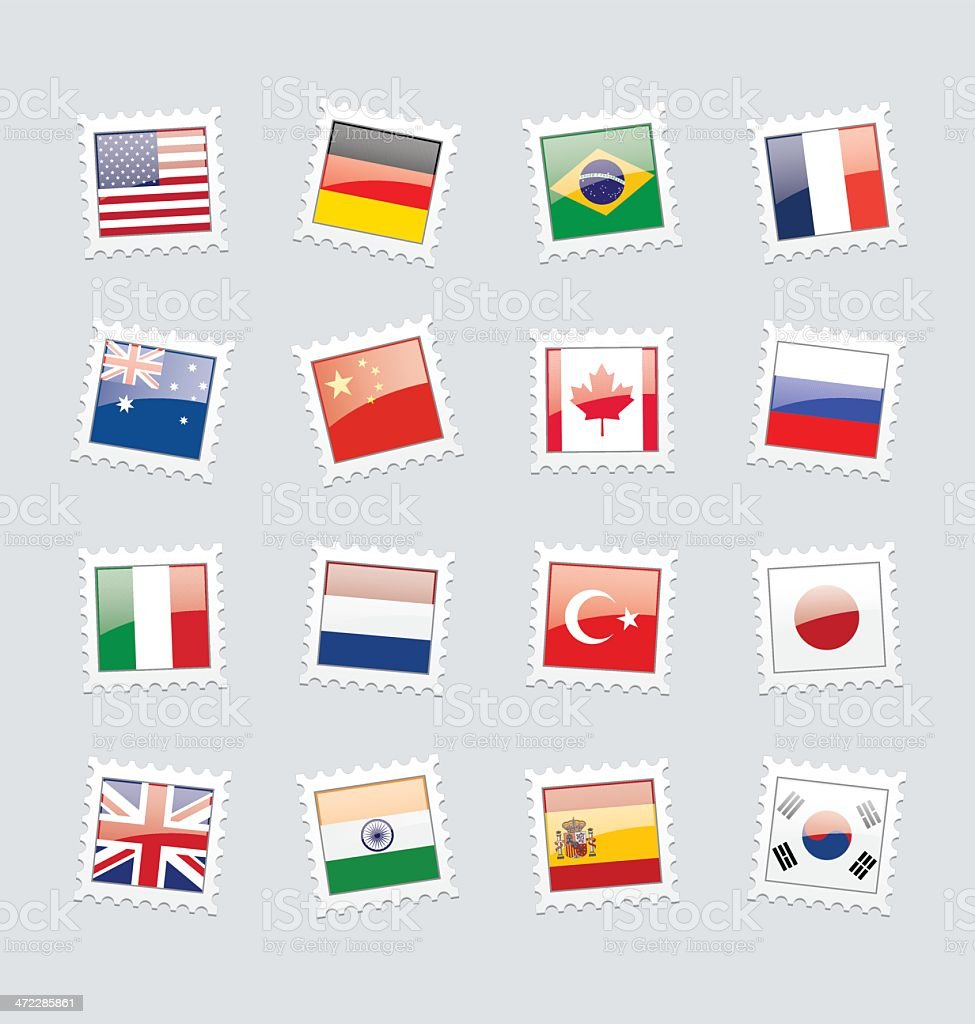 Postage Stamp Flags: Top 16 Economies royalty-free stock vector art