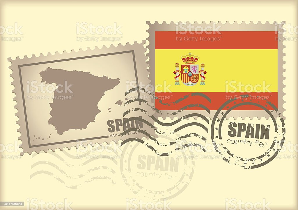postage stamp Spain royalty-free stock vector art