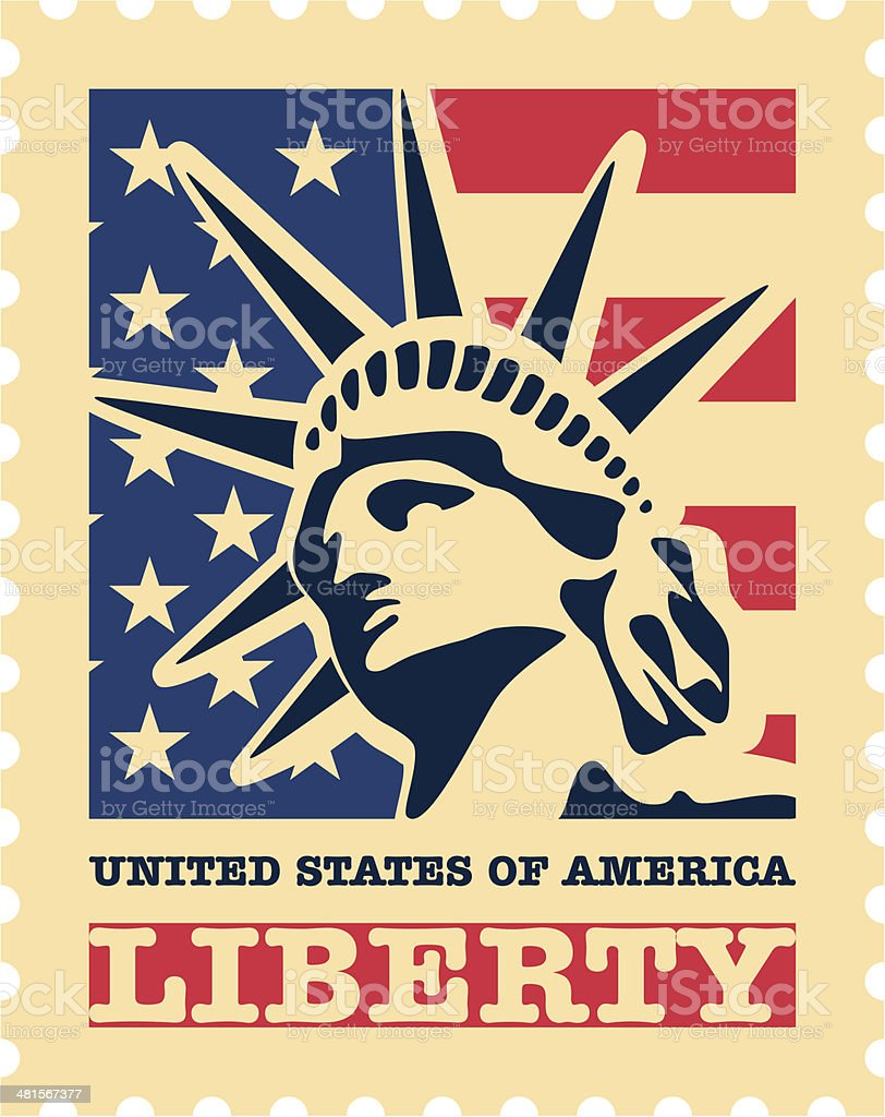 USA postage stamp. vector art illustration