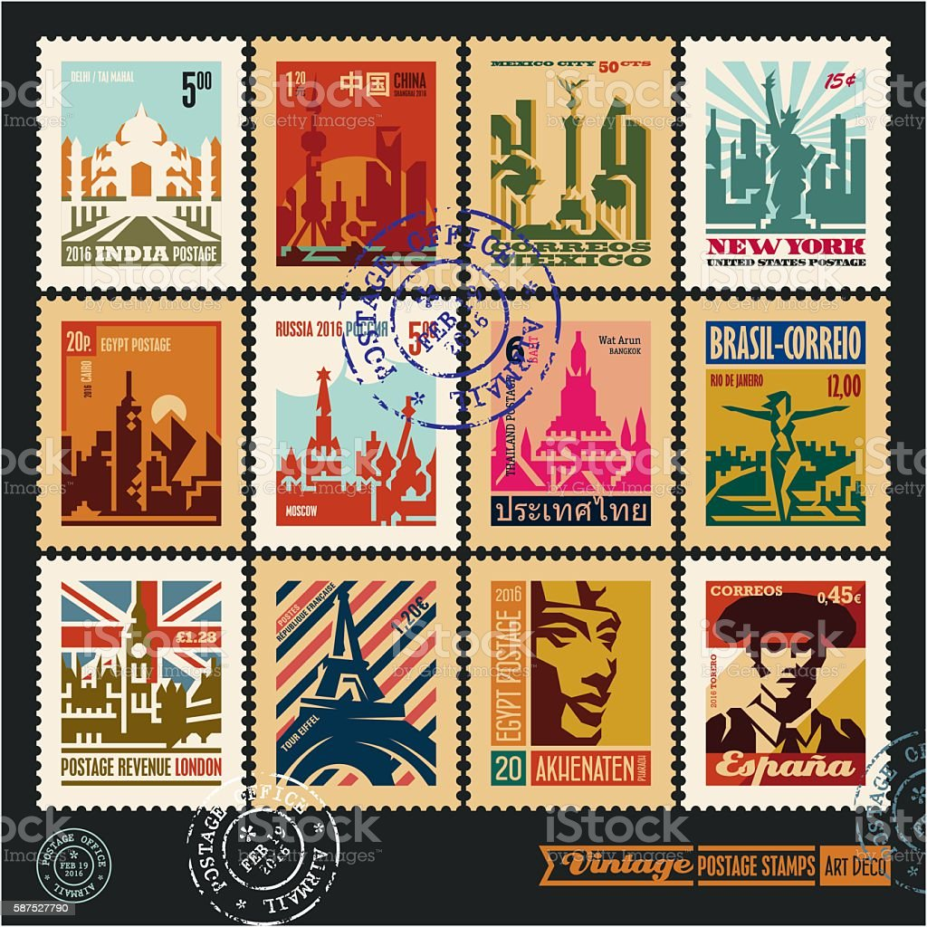 postage stamps, cities of the world, travel labels vector art illustration