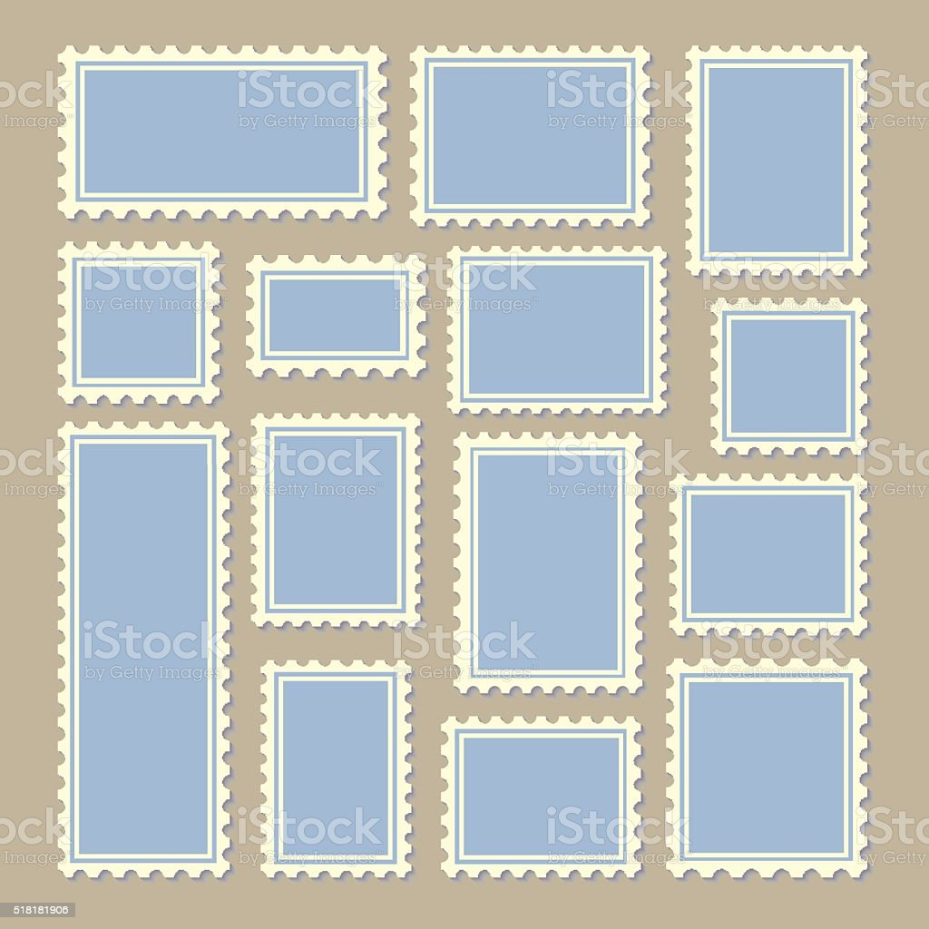 postage stamps different size in blue and white vector art illustration