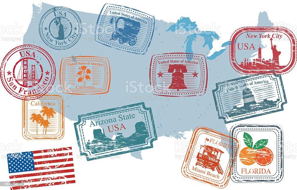USA Postage Stamps vector art illustration