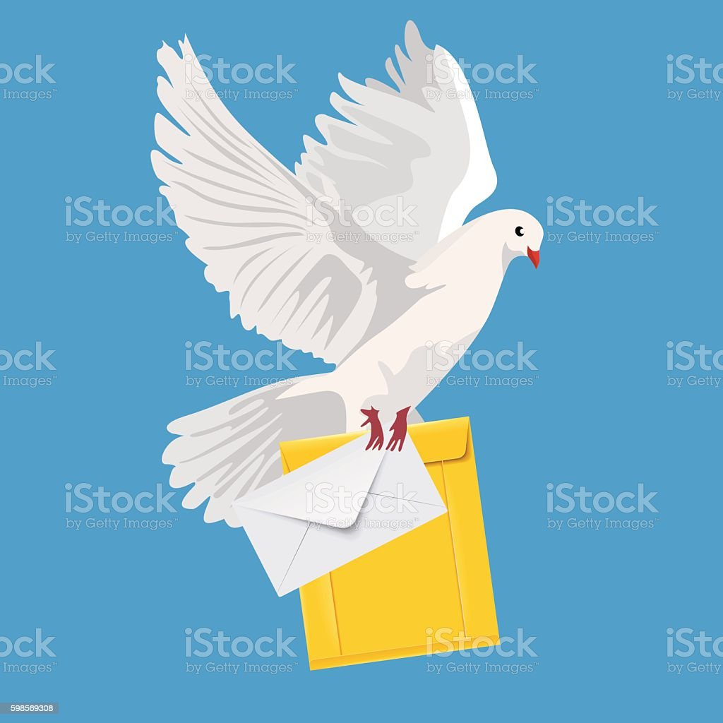 postal dove, pigeon, vector illustration vector art illustration