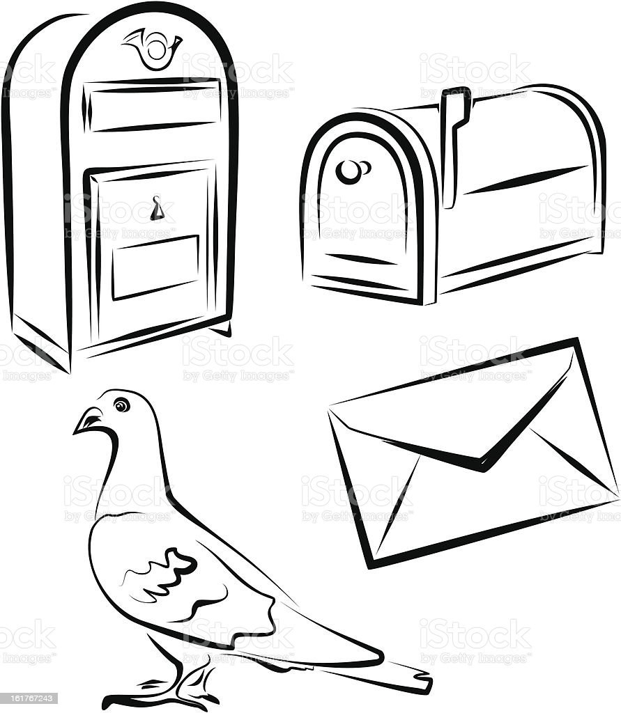 Postal service icons set vector art illustration