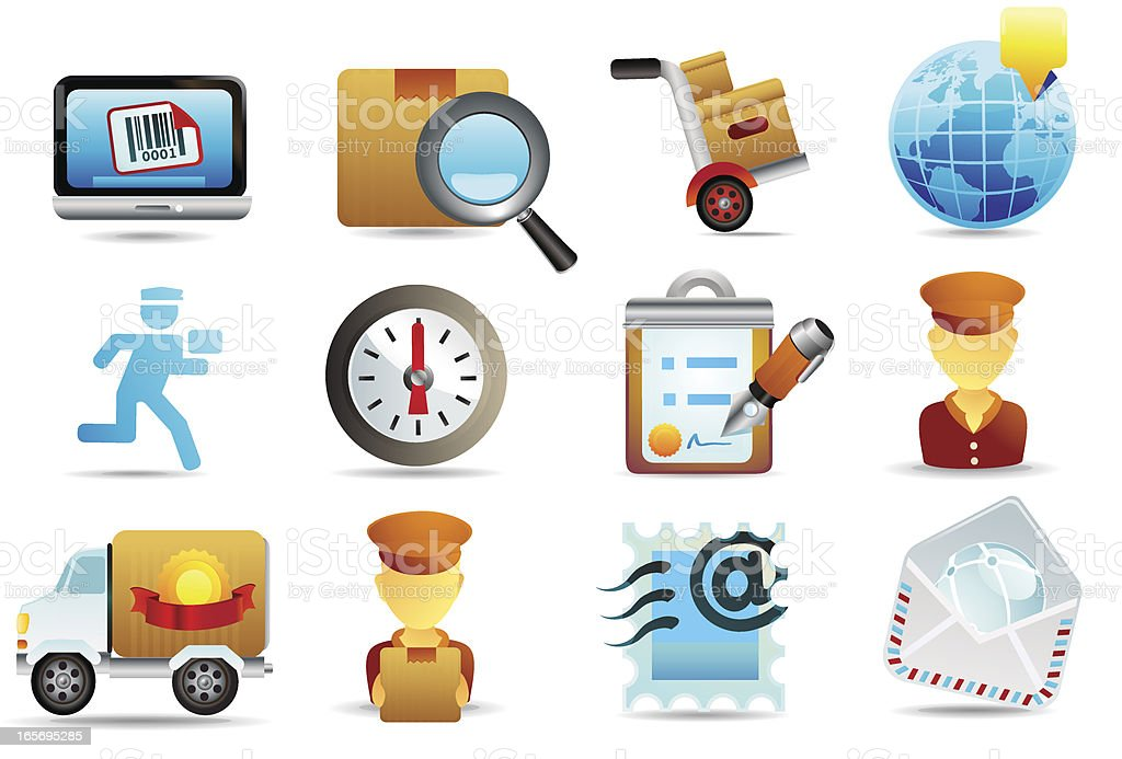 Postal Service Icons vector art illustration