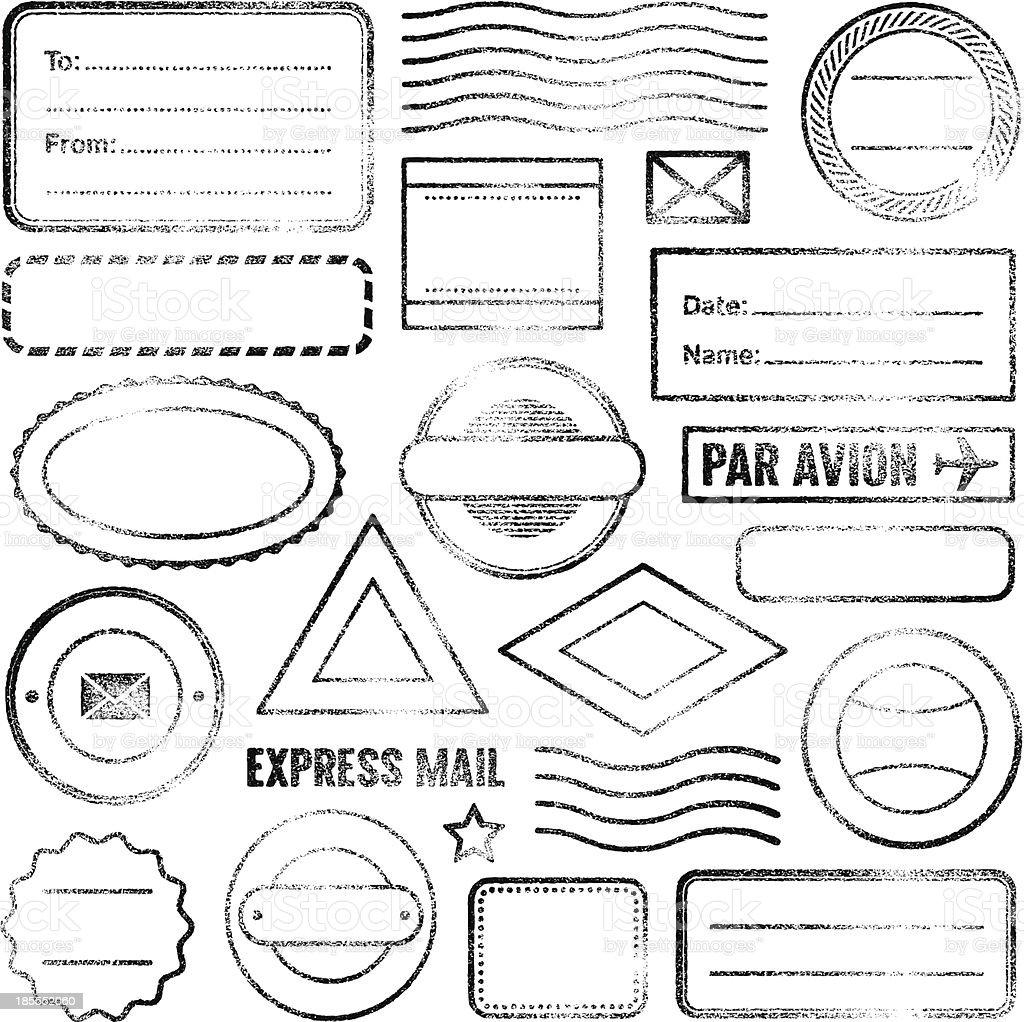 Postal stamps vector art illustration