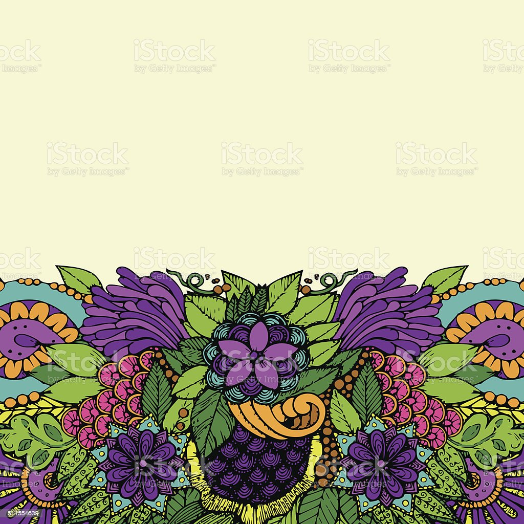postcard flowers vector art illustration