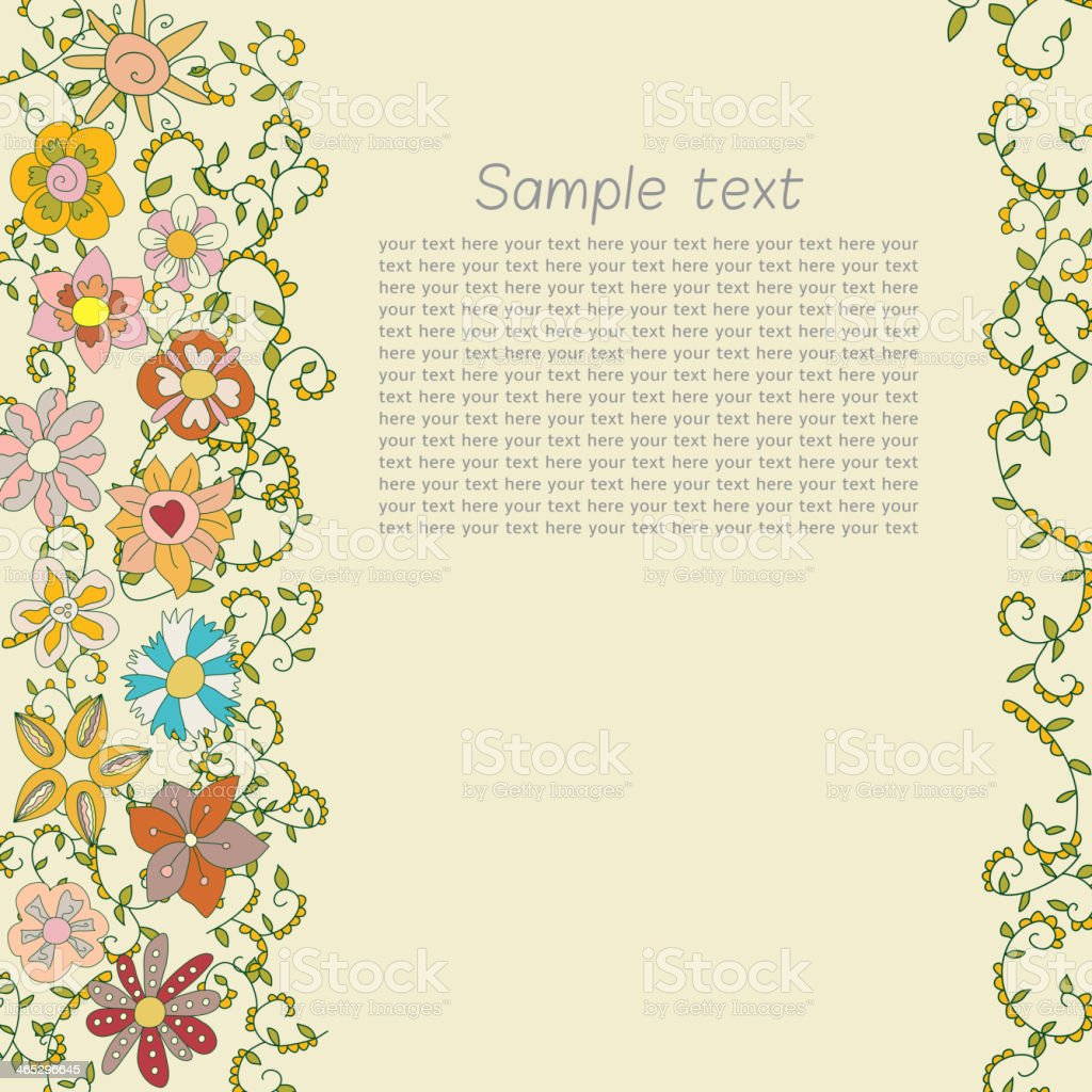 Postcard for text with a vegetative ornament of flowers vector art illustration