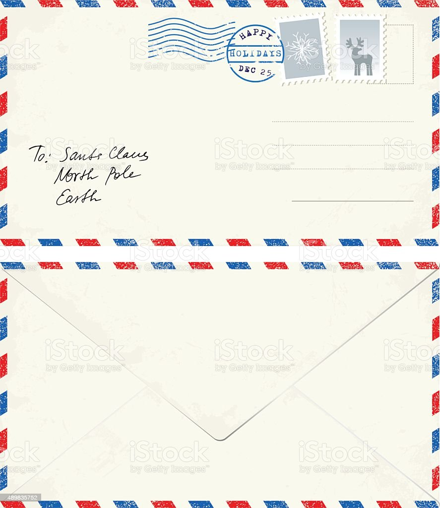 Postcard letter to Santa vector art illustration