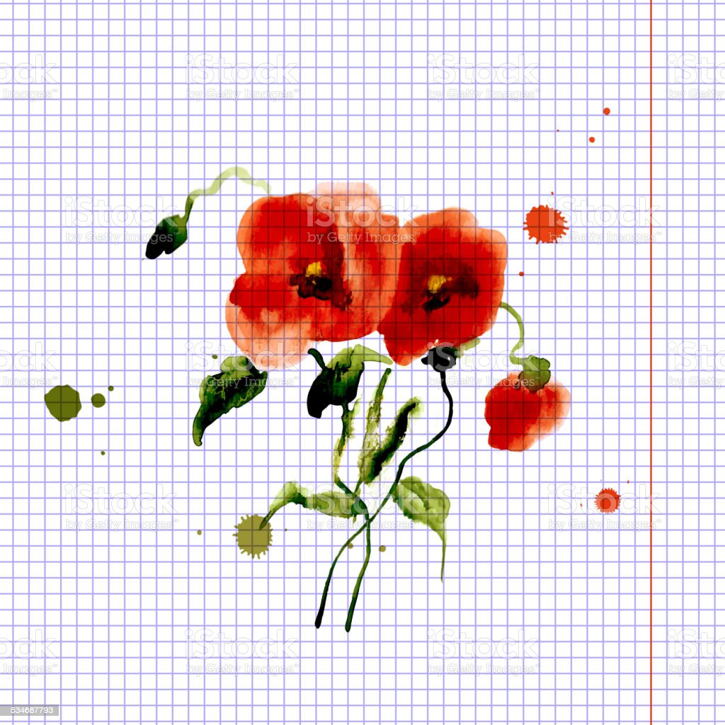 Postcard painted red poppy vector art illustration