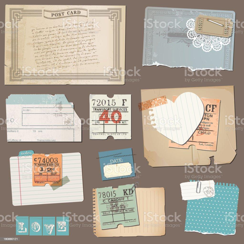 Postcard Scrapbook Set vector art illustration